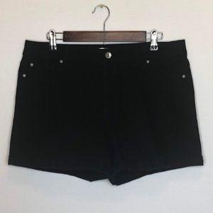 Cato Contemporary Fit Black Denim Cuffed Shorts